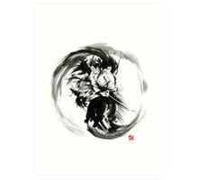 Aikido techniques martial arts sumi-e black white round circle design yin yang ink painting watercolor artwork Art Print