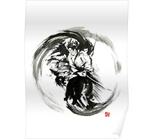 Aikido techniques martial arts sumi-e black white round circle design yin yang ink painting watercolor artwork Poster