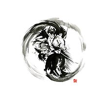 Aikido techniques martial arts sumi-e black white round circle design yin yang ink painting watercolor artwork Photographic Print
