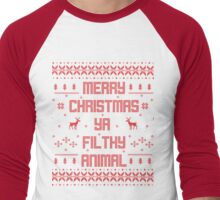 Merry Christmas You Filthy Animal (Red) Men's Baseball ¾ T-Shirt