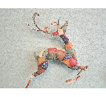Patchwork Reindeer in the Snow Photographic Print