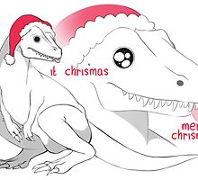 christmas dinosaur by welshbekkie