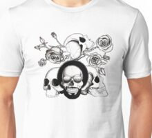 Grunge skulls and roses (afro skull included. Black and white version) Unisex T-Shirt