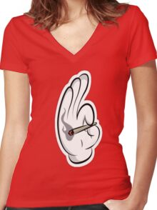 sMOKING hAND Women's Fitted V-Neck T-Shirt