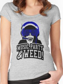 Music Party Weed Women's Fitted Scoop T-Shirt