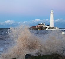 Wave splash at St Mary's Lighthouse by David Patterson