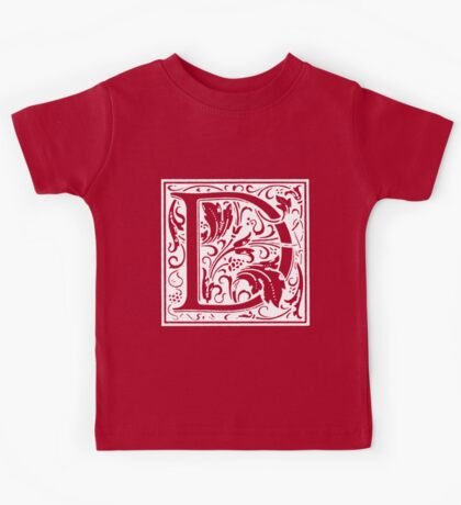 William Morris Renaissance Style Cloister Alphabet Letter D Kids Tee
