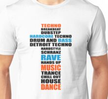 Trance Techno Dubstep Rave Cross Unisex T-Shirt