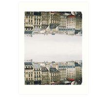 upside down parisian rooftops Art Print