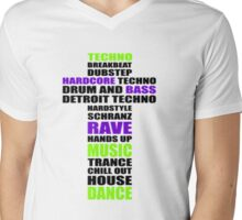 Trance Techno Dubstep Rave Cross 2 Mens V-Neck T-Shirt