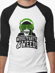 Music Party Weed 3 Men's Baseball ¾ T-Shirt