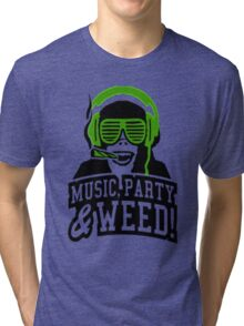 Music Party Weed 3 Tri-blend T-Shirt