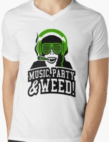 Music Party Weed 3 Mens V-Neck T-Shirt