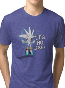 """Silver The Hedgehog """"It's no use!"""" Tri-blend T-Shirt"""