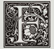 William Morris Renaissance Style Cloister Alphabet Letter F T-Shirt