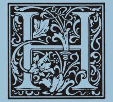 William Morris Renaissance Style Cloister Alphabet Letter H T-Shirt
