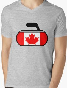 Canada Curling Mens V-Neck T-Shirt