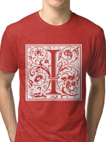 William Morris Renaissance Style Cloister Alphabet Letter I Tri-blend T-Shirt