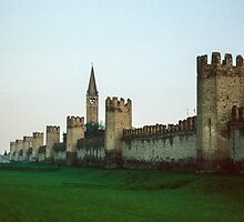 View of old moat and town wall with towers Montagnana Italy 198404180017m by Fred Mitchell