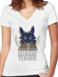 Dragon Trainer Tee (With Text) Women's Fitted V-Neck T-Shirt