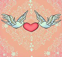 Rockabilly Valentine - Tattoo Art Birds by CatAstrophe
