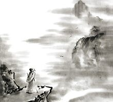Mountain view poet in mountain haiku sky snow and clouds landscape sumi-e original ink painting by Mariusz Szmerdt