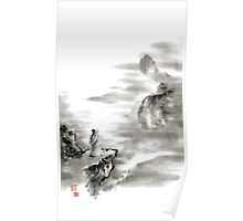 Mountain view poet in mountain haiku sky snow and clouds landscape sumi-e original ink painting Poster