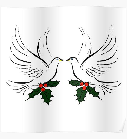 Doves and Holly Poster