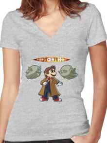 Doctor Mario Women's Fitted V-Neck T-Shirt