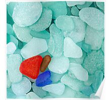 Three sea glass pieces Poster
