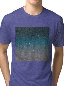 Pretty Faux Glitter Gradient in Black, Blue, White Tri-blend T-Shirt