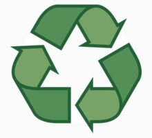 Recycling symbol stickers and tote bags, three shades of green by Mhea