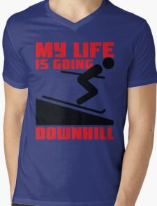 My life is going downhill: Skiing Mens V-Neck T-Shirt