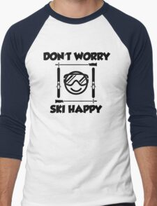 Don't worry, ski happy Men's Baseball ¾ T-Shirt