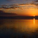 Winter sunset from Monte del Lago, Lago Trasimeno, Umbria by Andrew Jones