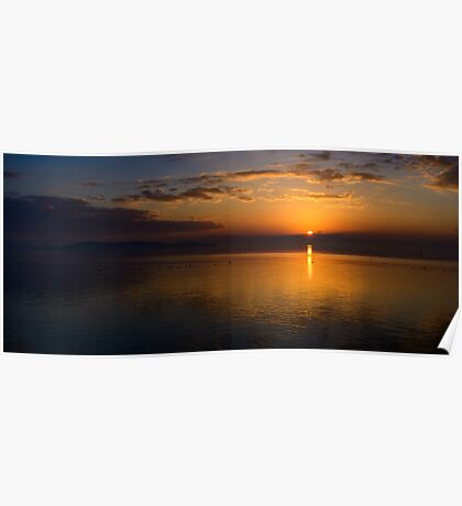 Winter sunset from Monte del Lago, Lago Trasimeno, Umbria Poster