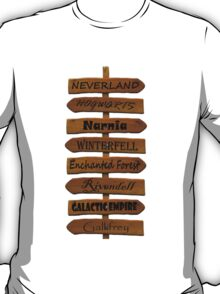 Fictional Places Signpost T-Shirt