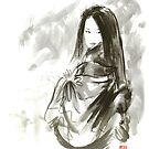 Geisha Japanese woman beauty maiko geiko portrait beautiful face kimono original Japan painting art by Mariusz Szmerdt
