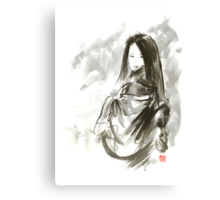 Geisha Japanese woman beauty maiko geiko portrait beautiful face kimono original Japan painting art Canvas Print
