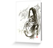 Geisha Japanese woman beauty maiko geiko portrait beautiful face kimono original Japan painting art Greeting Card