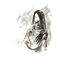 Geisha Japanese woman beauty maiko geiko portrait beautiful face kimono original Japan painting art Photographic Print