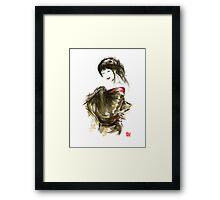 Geisha Gold Kimono Japanese woman black hair jewerly sumi-e original painting art print Framed Print