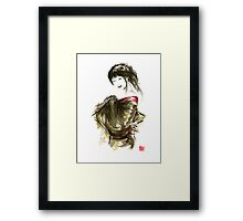 Geisha Gold Kimono Japanese woman black hair jewerly sumi-e original painting art print Framed Print