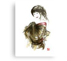 Geisha Gold Kimono Japanese woman black hair jewerly sumi-e original painting art print Metal Print