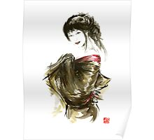 Geisha Gold Kimono Japanese woman black hair jewerly sumi-e original painting art print Poster