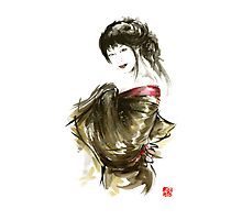 Geisha Gold Kimono Japanese woman black hair jewerly sumi-e original painting art print Photographic Print