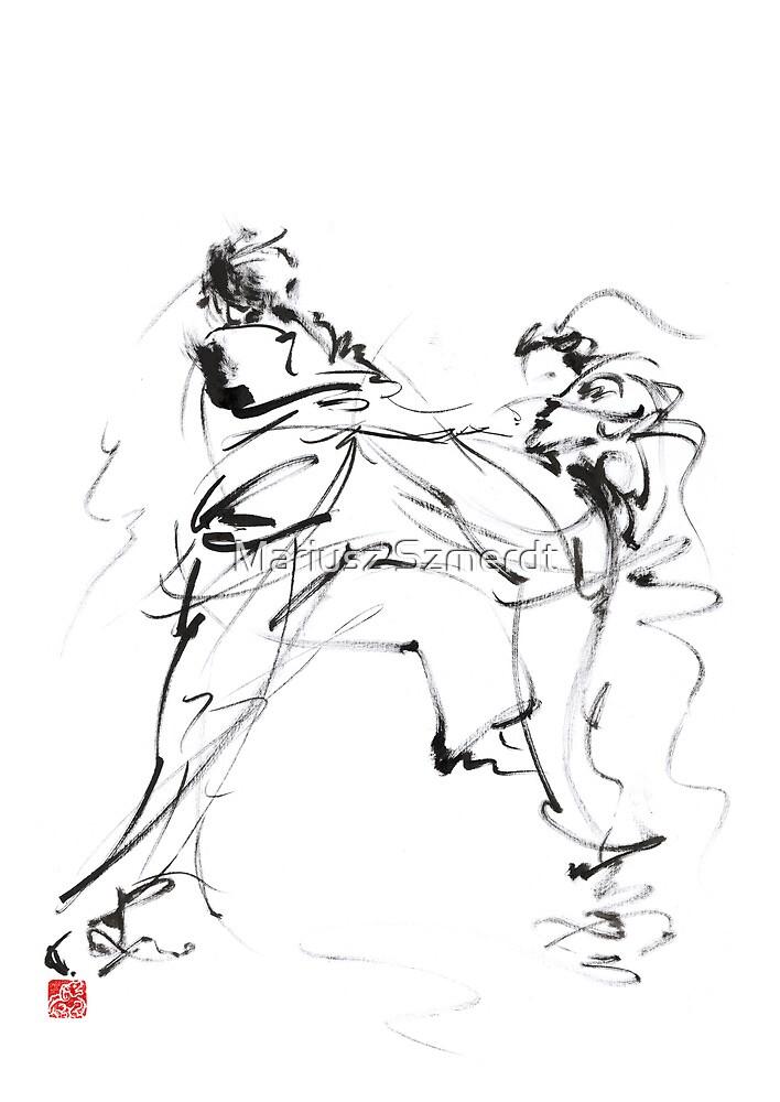 Karate martial arts kyokushinkai japanese kick oyama ko knock out japan ink sumi-e by Mariusz Szmerdt