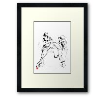 Karate martial arts kyokushinkai japanese kick oyama ko knock out japan ink sumi-e Framed Print