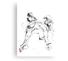Karate martial arts kyokushinkai japanese kick oyama ko knock out japan ink sumi-e Canvas Print
