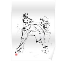 Karate martial arts kyokushinkai japanese kick oyama ko knock out japan ink sumi-e Poster